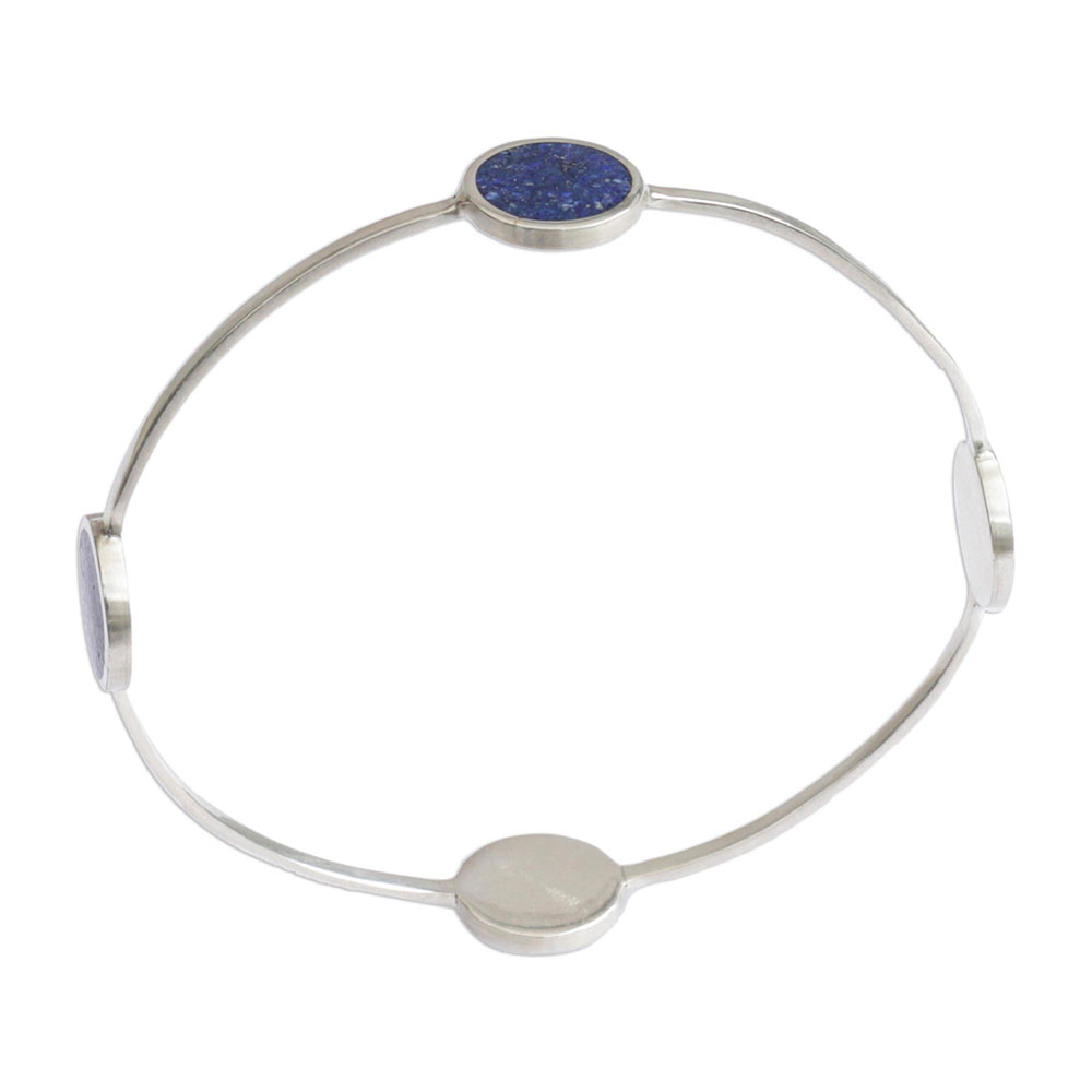 Sterling Silver and Lapis Lazuli Planetary Circle Bangle Bracelet