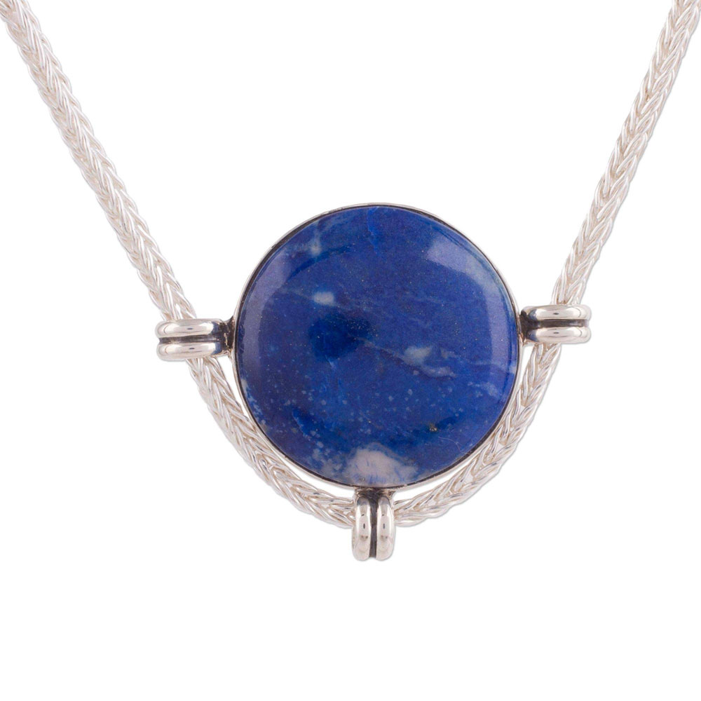 Sterling Silver and Lapis Lazuli Inca Moon Medallion