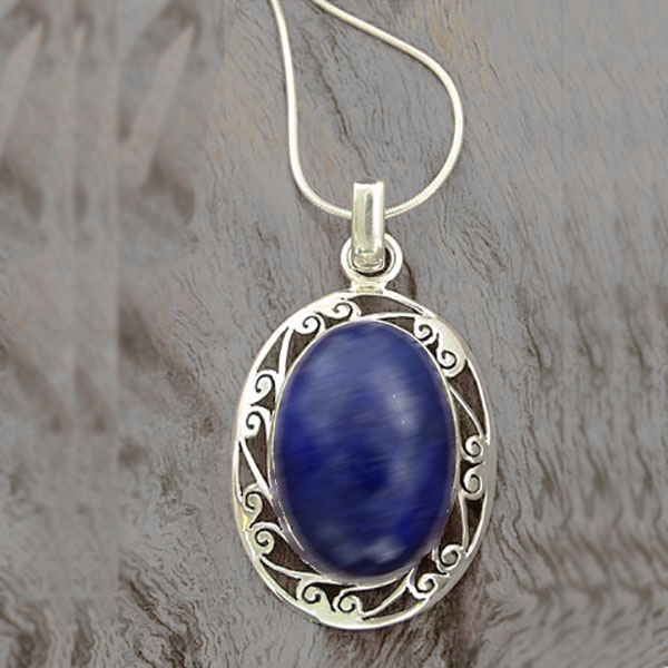 Sterling Silver and Lapis Lazuli Lace Medallion Cabochon Pendant
