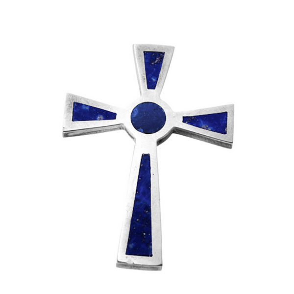 Sterling Silver and Lapis Lazuli St John Cross