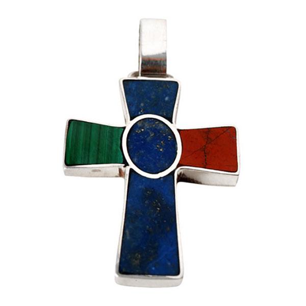 Sterling Silver, Lapis Lazuli, Malachite and Jasper St John Cross