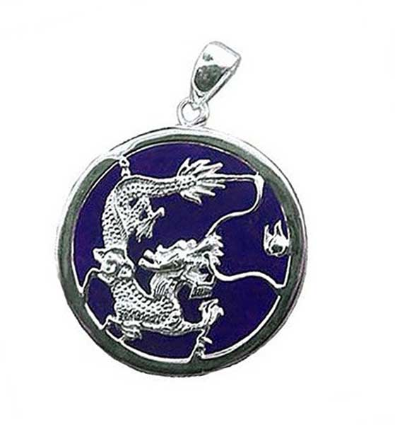 Lapis Lazuli and Sterling Silver Medium Dragon Medallion