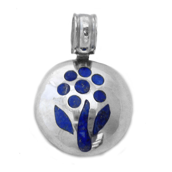 Sterling Silver and Lapis Lazuli Round Tree of Life Pendant