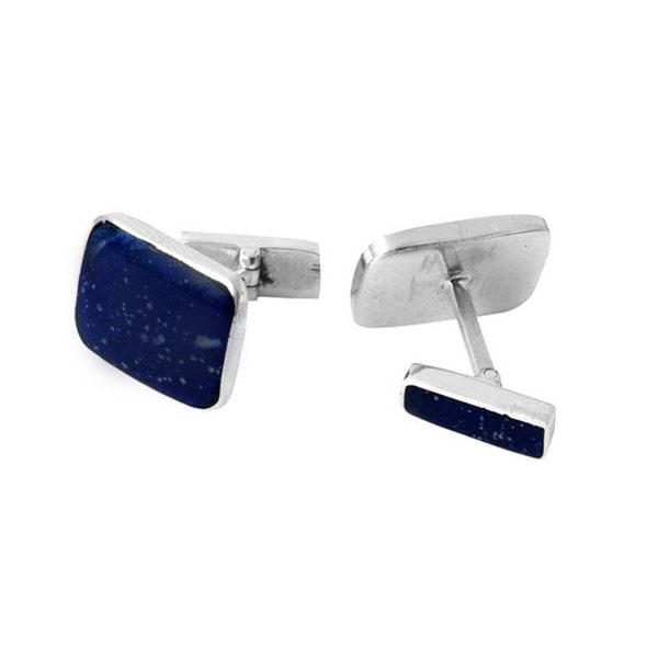Rectangular Sterling Silver and Lapis Lazuli Cufflinks