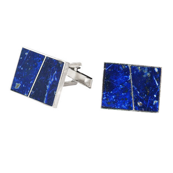 Rectangular Sterling Silver and Lapis Lazuli Division Cufflinks