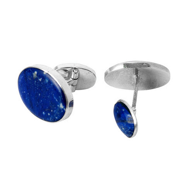 Oval Sterling Silver and Lapis Lazuli Cufflinks
