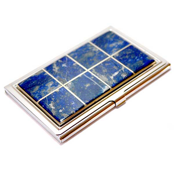 Silver Plated Personal Card Holder with Lapis Lazuli Insets