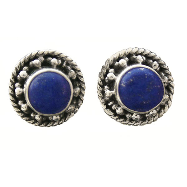 Crown Style Round Sterling Silver Earrings