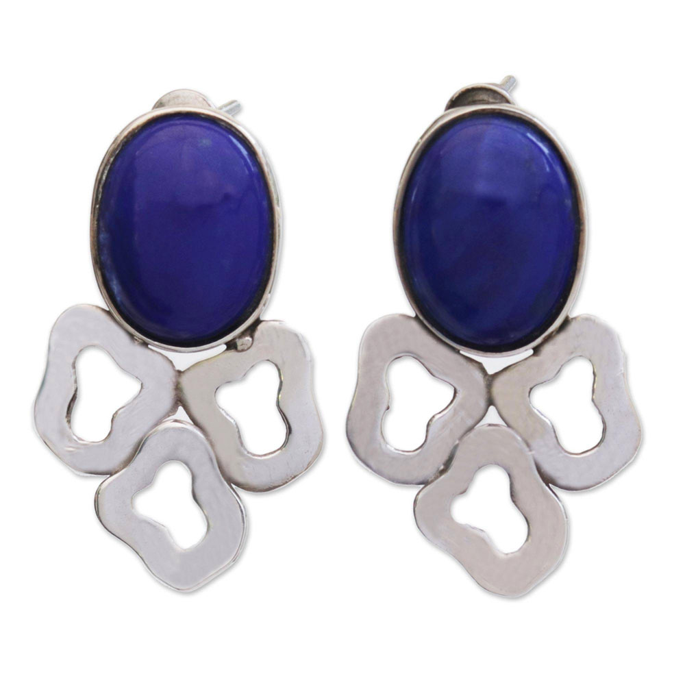 Sterling Silver and Lapis Lazuli Petals Hanging Earrings