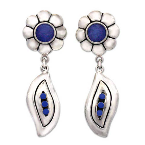 Flower Lapis Lazuli and Sterling Silver Hanging Earrings