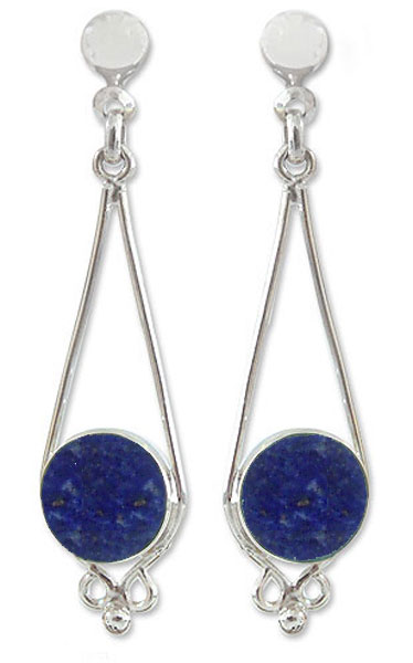Sterling Silver and Lapis Lazuli French Hanging Earrings