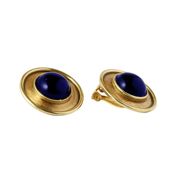 18K Gold and Lapis Lazuli Greco Round Earrings