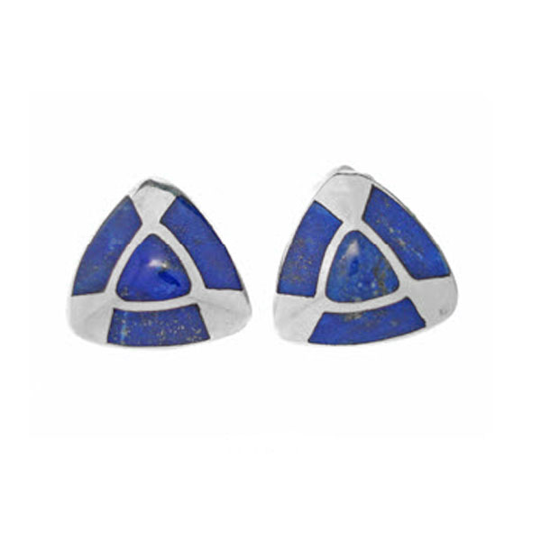 Triangular Post or Clip Earrings, Sterling Silver and Lapis Lazuli