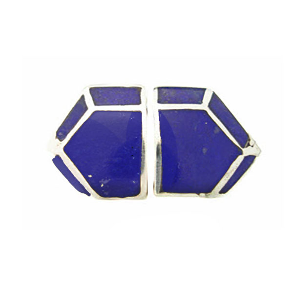 Sterling Silver and Lapis Lazuli Art Deco Chrysler Earrings