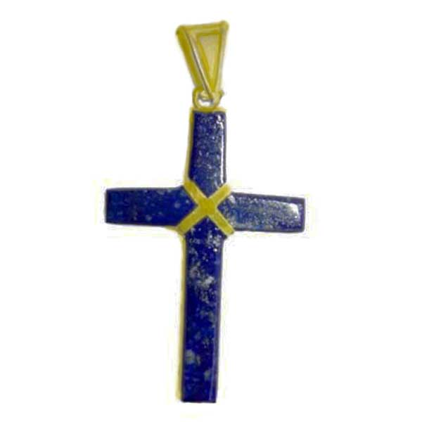 18K Gold and Lapis Lazuli Small Rectangular Cross