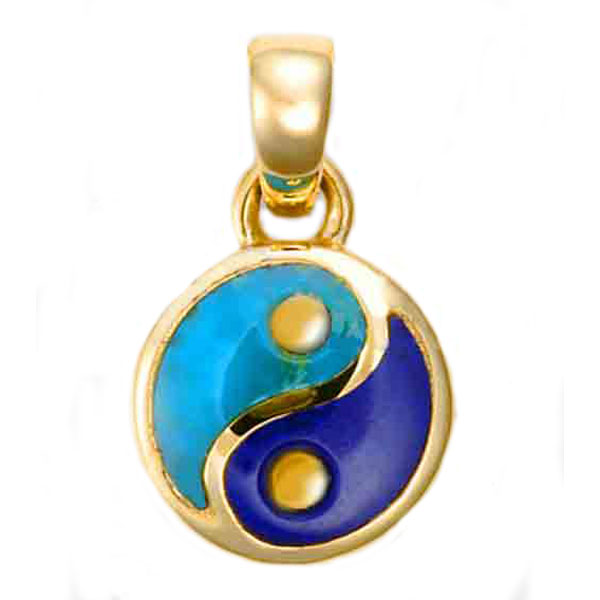 Medium 18K Gold Lapis Lazuli and Turquoise Yin Yang Charm
