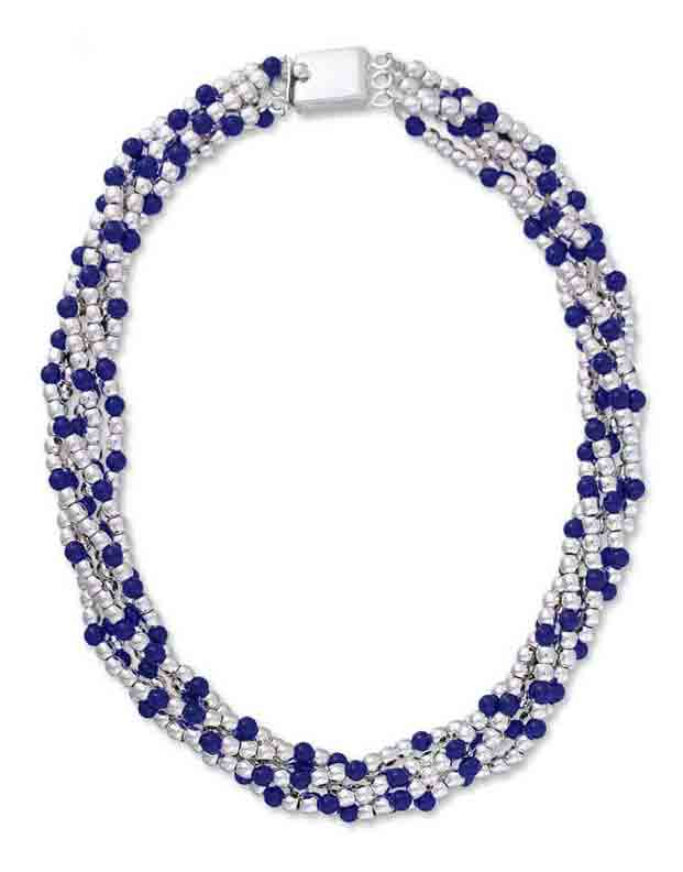 Sterling Silver Beads with Lapis Lazuli Accents Necklace