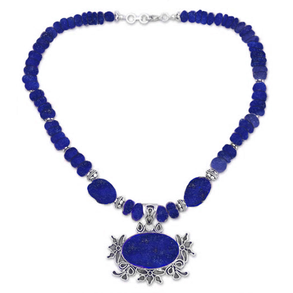 Sterling Silver and Lapis Lazuli Floral Crown Medallion Beaded Necklace