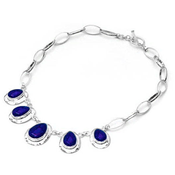 Drop Sterling Silver Necklace with Lapis Lazuli Cabochons