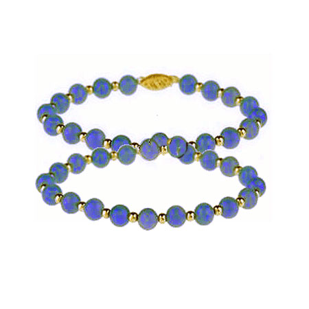 Lapis Lazuli and 18K Gold Beaded Necklace