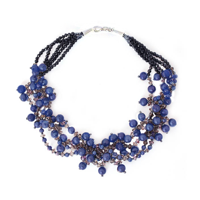 Lapis Lazuli Bead, Crystal and Sterling Silver Fantasy Necklace