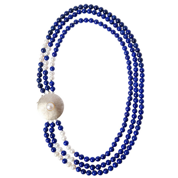 Triple Strand Water Pearl and Lapis Lazuli Beads Necklace