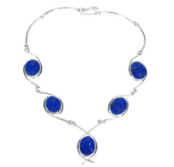 Sterling Silver and Lapis Lazuli Boreal Necklace