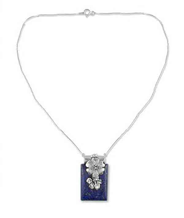Sterling Silver and Lapis Lazuli Zinnia Necklace