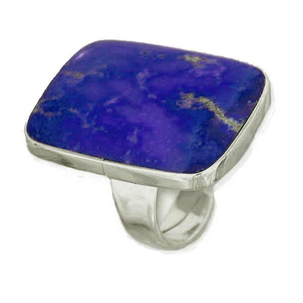 Wide Rectangular Lapis Lazuli and Sterling Silver Ring