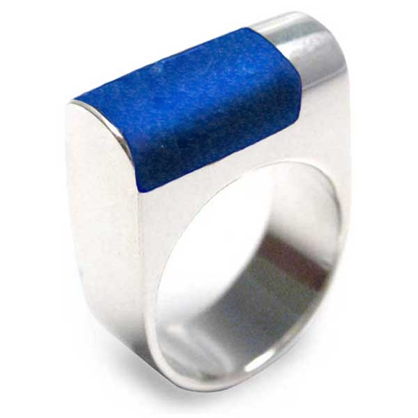 Sterling Silver and Lapis Lazuli Abstract Tower Ring