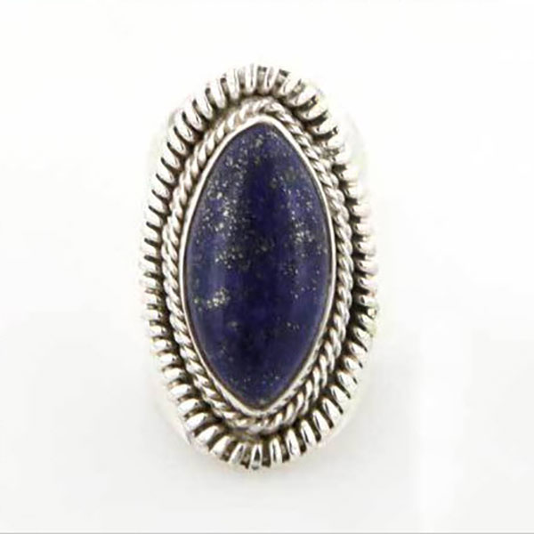 Sterling Silver and Lapis Lazuli Cabochon Braided Cocktail Ring