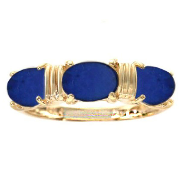 18K Gold and Lapis Lazuli Triple Stone Promise Ring