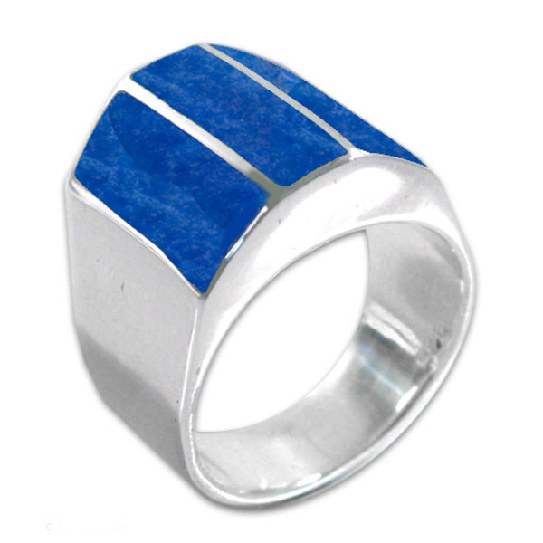Thick Sterling Silver and Lapis Lazuli Pyramidal Ring