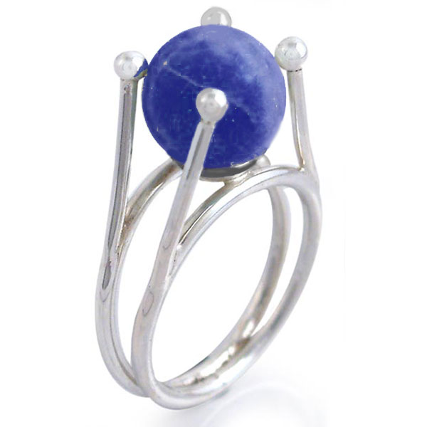 Lapis Lazuli and Sterling Silver Bead Ring