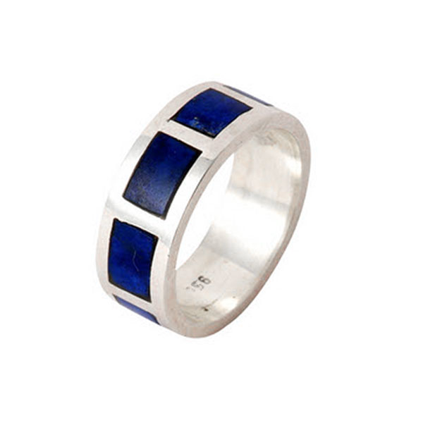 Wide Division Sterling Silver and Lapis Lazuli Cleo Band