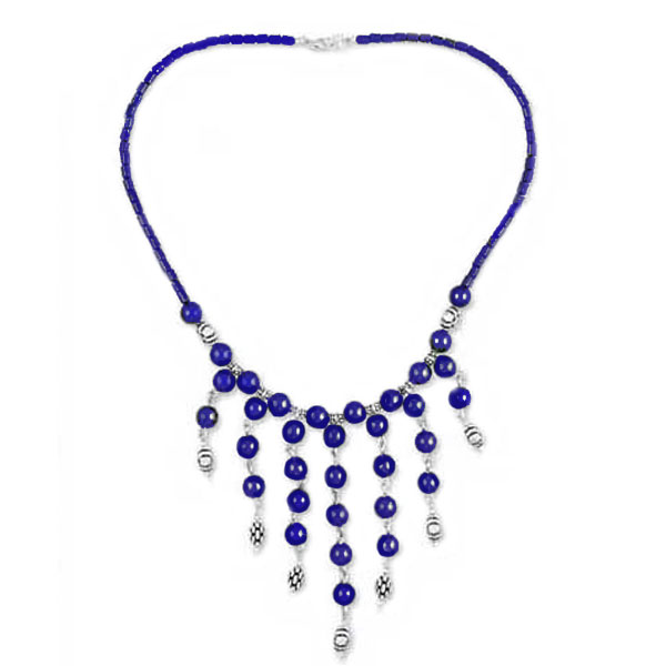 Sterling Silver and Lapis Lazuli Beaded Semi Collar