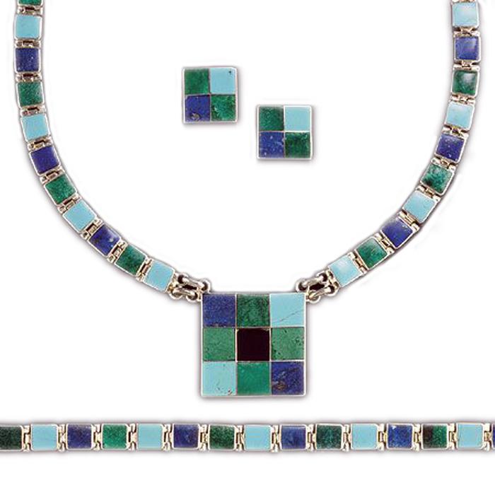 Lapis Lazuli, Malachite, Obsidian and Turquoise Sterling Silver Set
