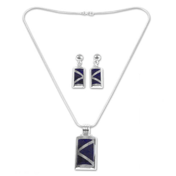 Sterling Silver and Lapis Lazuli Inca Pyramid Set