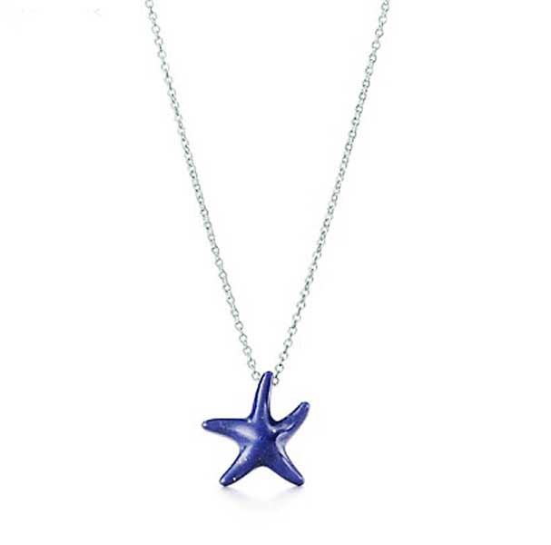 Lapis Lazuli and Sterling Silver Starfish Necklace