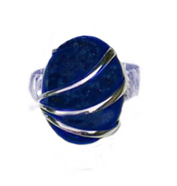 Sterling Silver and Lapis Lazuli Oval Channeling Ring