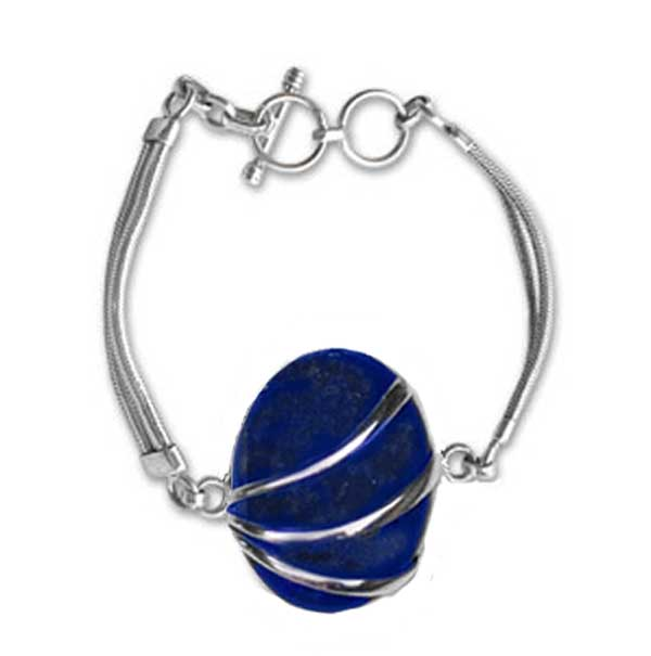 Sterling Silver and Lapis Lazuli Channeling Toggle Bracelet