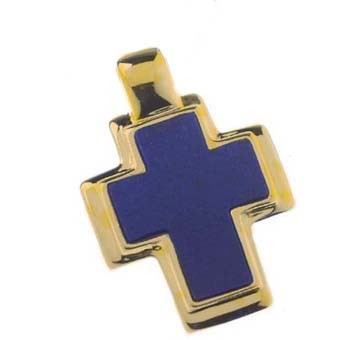 18K Gold and Lapis Lazuli Thick Rectangular Cross
