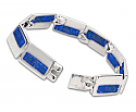 "Sterling Silver and Lapis Lazuli Rectangular ""Windows"" Bracelet"