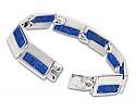 "Sterling Silver and Lapis Lazuli Rectangular ""Windows"" Bracelet"