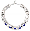 Sterling Silver and Lapis Lazuli Cartier Link Necklace