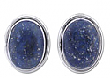 Tower Post or Clip Earrings, Sterling Silver and Lapis Lazuli