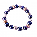 8 mm Lapis Lazuli, Freshwater Pearls and Sterling Silver Bead Bracelet