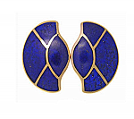 18K Gold and Lapis Lazuli Art Deco Fan Earrings