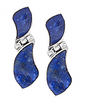 Sterling Silver and Lapis Lazuli Art Deco Hing Hanging Earrings