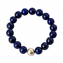 10 mm Lapis Lazuli and Clutured Pearl Bead Bracelet